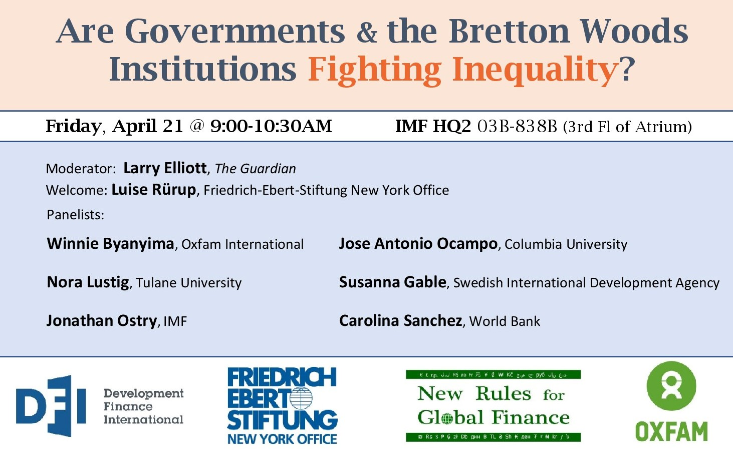 Event - New Rules for Global Finance Coalition